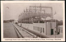 CONOWINGO MD Dam Power Plant & Highway Vintage B&W Maryland Postcard Old PC