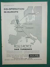 4/1962 PUB ROLLS-ROYCE GAS TURBINE RB 162 VTOL TYNE ENGINE ORIGINAL AD