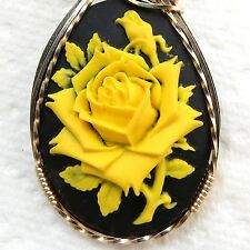 Yellow Rose Cameo Pendant 14K Rolled Gold Artisan Jewelry Resin