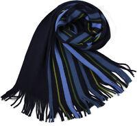Klassischer Strickschal aus 100% Wolle (Merino) mit Fransen blau/grün gestreift