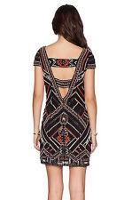 Parker Black Silk Sequin Beaded Elijah Dress, Cut Out Back, Size Small,  NWT