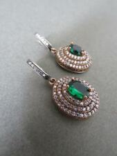 Vintage Silver Emerald Paste Drop Earrings