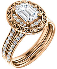 1 ct Emerald Cut Diamond Halo Engagement Wedding Ring SI1 clarity 14k Rose Gold