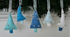 Christmas Ornament Felt Embroidery Kit Mini Trees in Silver and Blues Makes 5