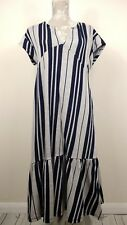 Zara Grey Navy Stripe Jersey Dress V Neck Ruffle Hem Size Medium UK 12 14
