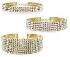 3 Pack Gold Rhinestone Choker Necklace 3, 5 and 8 Row Shiny Fashion