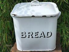 Large Original Vintage Steel Enamel Bread Bin With Handle Retro Bakery 1930's