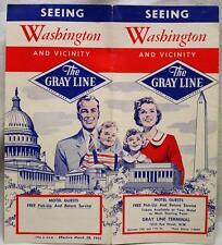 GRAY LINE TOURS WASHINGTON D.C. SOUVENIR TOURISM SIGHTSEEING BROCHURE 1955