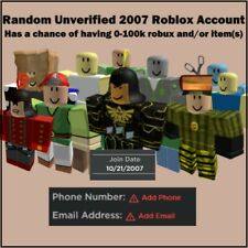 2007 | RARE   RANDOM ROBLOX ACCOUNT |   UNVERIFIED |   CHANCE OF 0-100K RAP