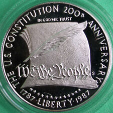 1987 US Mint Constitution Proof 90% Silver Dollar Commemorative Coin Box and COA