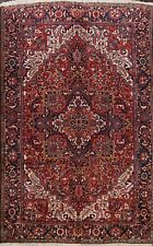 00000E06 One Time Offer! Geometric Red Vintage Heriz Long-lasting Area Rug Wool 9x12 ft