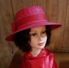 bc98c1ec Red Hat Ladies - Red Straw Hat w/Large Bow on Back by Betmar of
