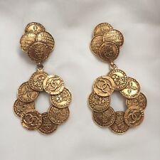 Rare Vintage Chanel Gold CC Logo Coin Hoop Clip Earrings