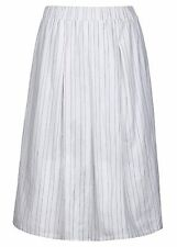 White + ink Stripe Lined elastic waist A-line lined 100 % COTTON  SKIRT 16 NEW