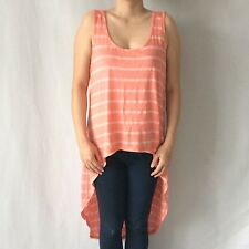 Forever 21 F21 Coral High Low Striped Tank - Brand New Authentic Size M