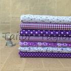 7pcs/Set Purple Floral Patch Quilting Sewing Cloth Cotton Fabric Craft Decor