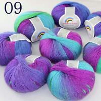 AIP Soft Cashmere Wool Colorful Rainbow Shawl DIY Hand Knitting Yarn 50grx8 09