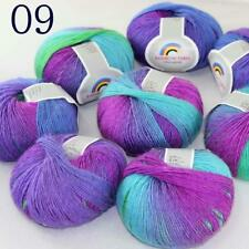 AIP Soft Cashmere Wool Colorful Rainbow Shawl DIY Hand Knitting Yarn 50grx8 09