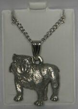 Bulldog Dog Harris Fine Pewter Pendant w Chain Necklace USA Made