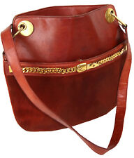 Vintage Gucci 1960's Red Rust Suede Leather Shoulder Bag with Gold Chain Detail