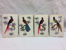 Vtg Watercolor Real feather Birds lot of 4 Colorful Asian For Framing Art Bird