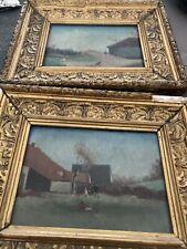 Tableau Paire D  Huile  19 Eme Paysage Cadre Barbison