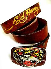 US Don Ed Hardy Tattoo Man Brown Leather Belt Lion Cat Traditional Buckle Mens L