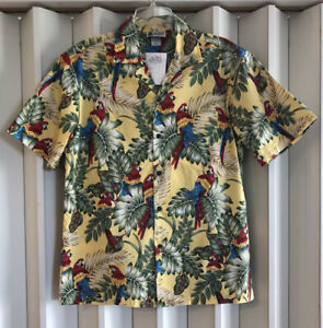 Aloha Republic Yellow Multi Magnum PI Colorful Parrots Hawaiian Shirt~S/M~NWT