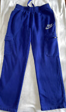 VTG Nike Fleece Jogger Sweatpants Blue Mens Medium Logo Zip Pocket Drawstring