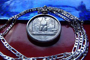 """1920's ITALIAN SILVER EAGLE LIRE COIN PENDANT ON A 24"""" 925 Italian Silver Chain"""