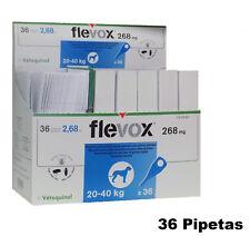 Caja 36 Pipetas FLEVOX 2,68 ml perros 20-40 Kg pipeta anti pulgas y garrapatas