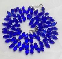 UK Handmade - Blue Faceted Glass Teardrop Necklace
