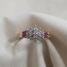 ladies 14k yellow gold round diamond ruby cluster ring size 4