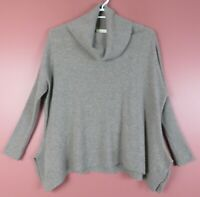 CSM01723- CYNTHIA ROWLEY Women's 100% 2-Ply Cashmere Cowl Neck Sweater Grey M