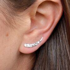 Minimalist 925 Sterling Silver Hammered Finish Ear Climber Set Yoga Jewelry 3170