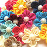 New 20/100 Ribbon Flowers Bows Rhinestone Appliques Wedding Decor Lots Mix