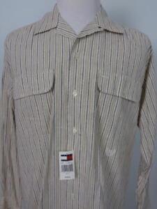 Tommy Hilfiger Linen Blend Button Front Shirt Mens sz Medium Tan Striped NWT