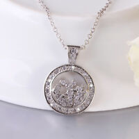 18K White Gold Filled Hollow CZ Tree Of Life Pendant Necklace