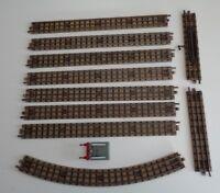 Vintage OO Gauge Meccano Hornby Dublo 10X Railtracks metal & 1X Buffer Stop