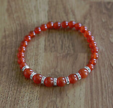 Bracelet with natural 6 and 8 mm Carnelian gemstones