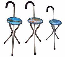 3 PC portable folding chair cane walking stick camp & hiking