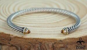 David Yurman 14k Yellow Gold & Sterling Citrine Thin Cable Cuff Bracelet