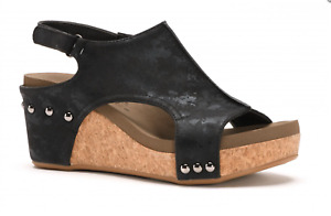 Corkys Carley Black Metallic Wedge Sandals