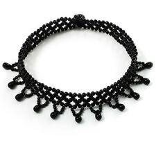 Black Bead Elasticated Stretch Choker Necklace Ladies Women Girls Dress Jewelry