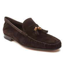 Gucci Men's Suede Tassle Loafer Shoes Dark Brown