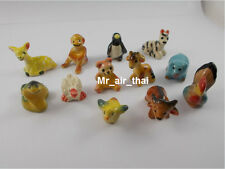 lot of 12 Miniatures Dollhouse Animals Figurines Collection Painted Ceramic