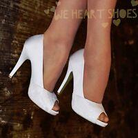 Ladies Wedding Bridal High Heel Ivory Floral Lace Peep toe Court Shoes 3-8 30454