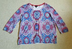 Women Sweater-TALBOTS-white/blue/pink paisley cotton/rayon cardigan 3/4 slv-1XP