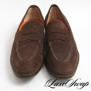 #1 MENSWEAR Santoni Fatte a Mano Made in Italy Chocolate Suede Penny Loafers 9.5