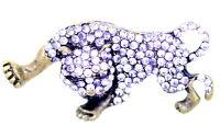 Vintage Art déco rétro style bronze et cristal léopard broche de sac